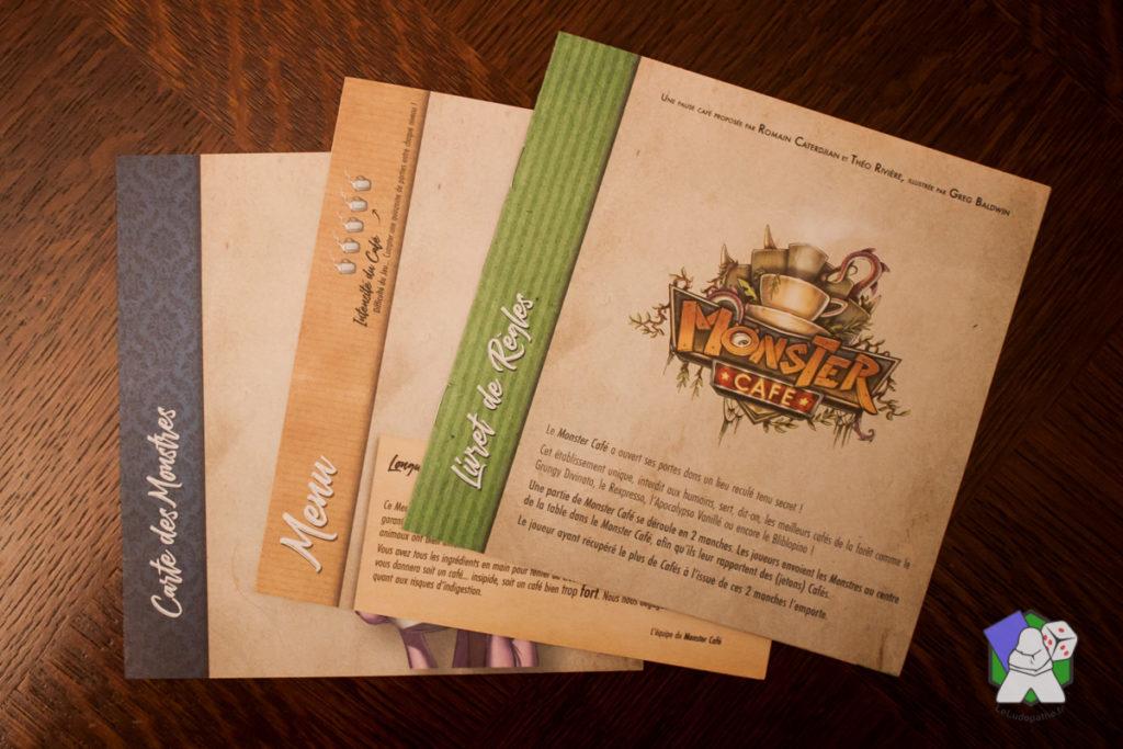Les règles de Monster Café, le Menu et le détail des Cartes Monstres.
