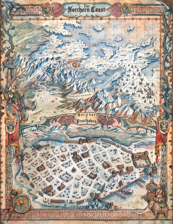 La carte de Frosthaven et de ses allentours