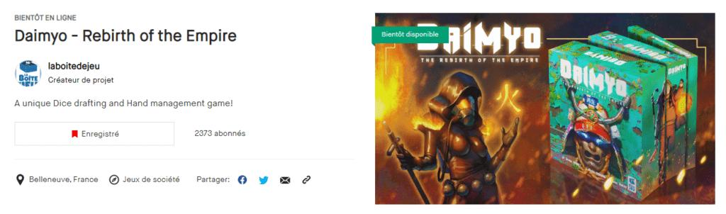 La page Kickstarter de Daimyo en attendant le lancement de la campagne