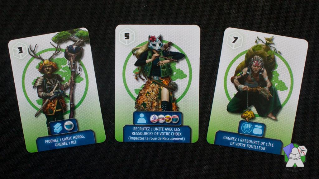 Les trois cartes de départ du Clan de la Nature