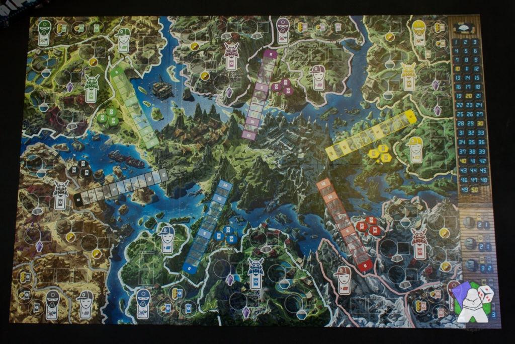 L'immense plateau de jeu et son illustration très vivante