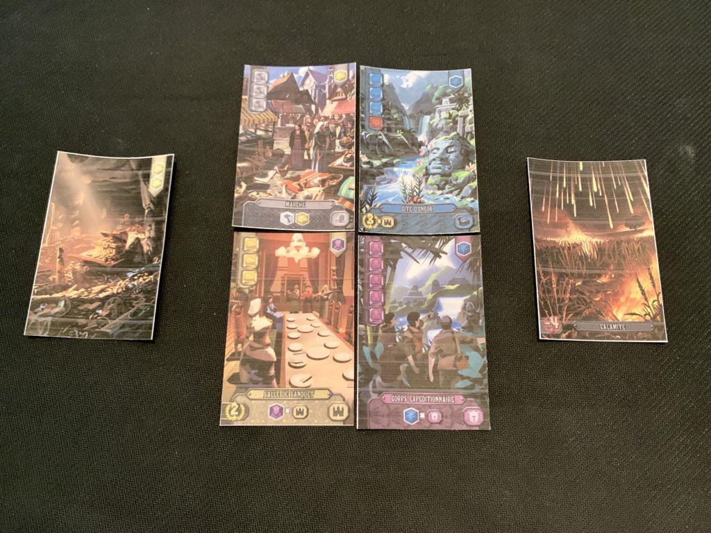 Les cartes Trésor, les cartes Développement à construire, et les cartes Calamités faisant perdre des points