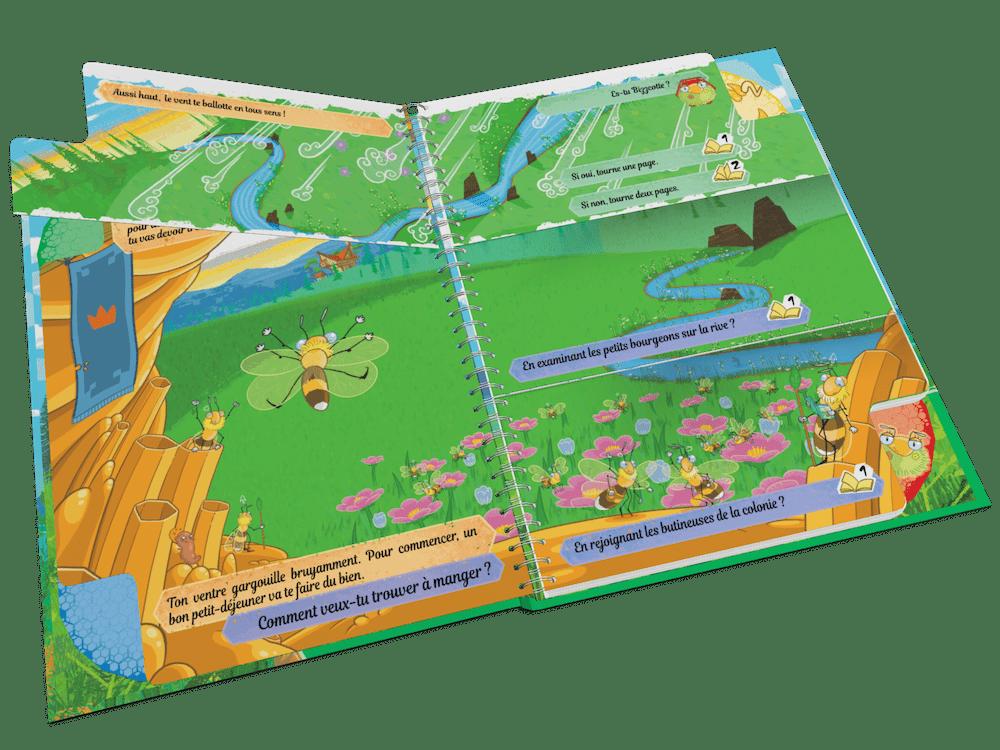 Ce livre contient des pages découpées à retourner en fonction des choix des enfants